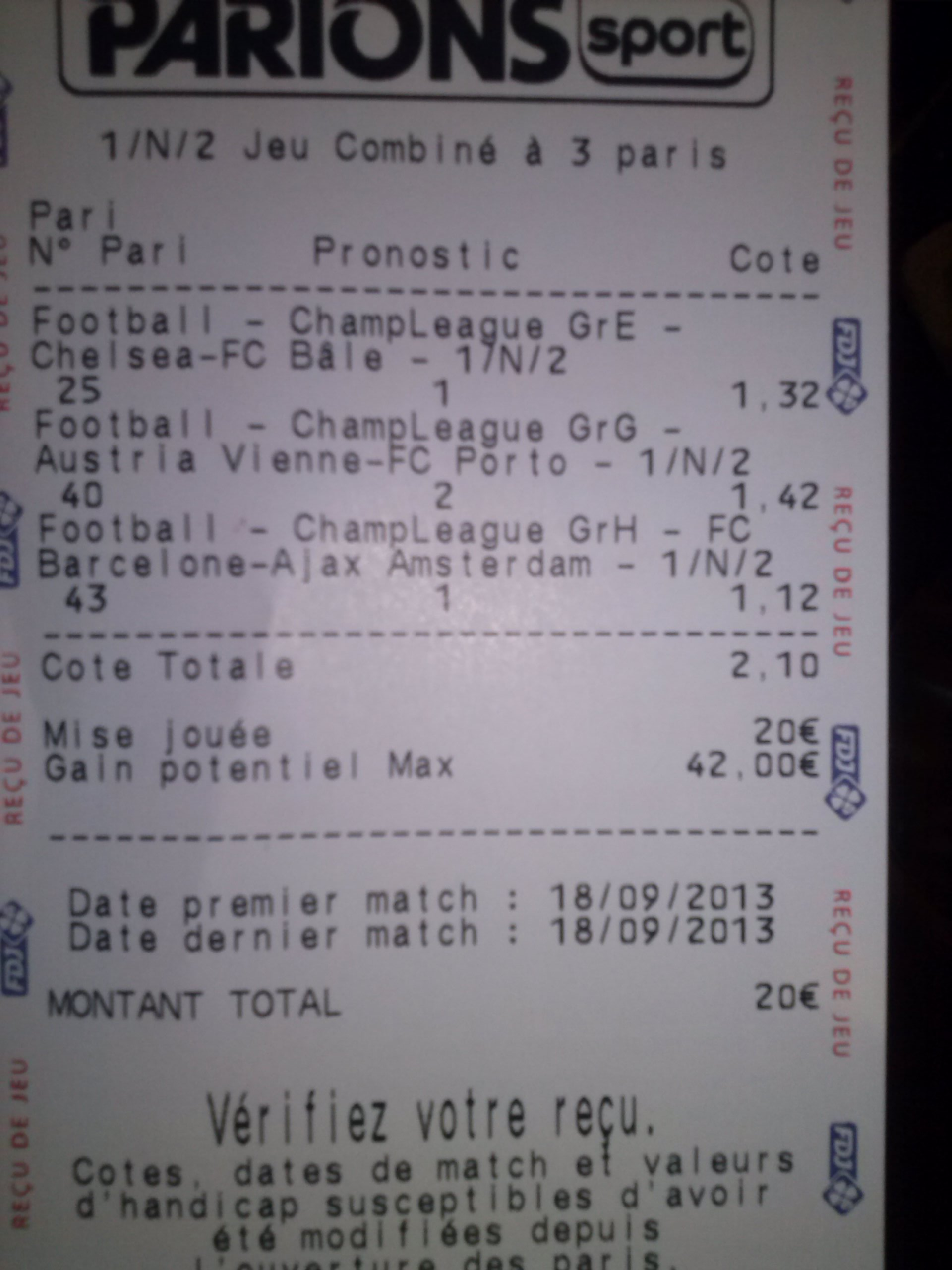 Ticket sport addict co - Grille des matchs parions sport ...